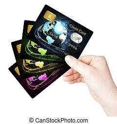 hand houdend, betaalkaarten, op, witte achtergrond