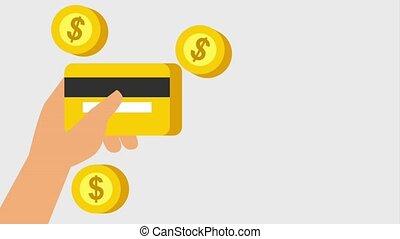 hand houdend credit kaart, bank, en, dalende muntstukken