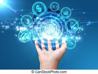 hand houdend, digitale wereld, sociaal, media, concept