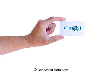 hand houdend, e-mail, kaart, vrijstaand