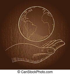 hand houdend, een, globe