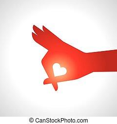 hand houdend, een, hart, pictogram,
