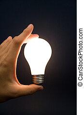 hand houdend, een, helder licht, bol
