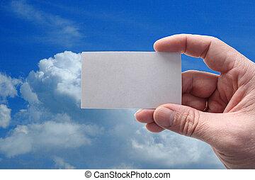 hand houdend, een, leeg visitekaartje