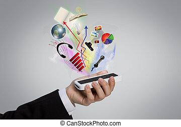 hand houdend, een, mobiele telefoon