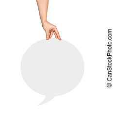 hand houdend, een, witte , ronde, leeg, tekstballonetje, op, een, vrijstaand, witte achtergrond