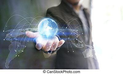 hand houdend, gloeiend, globe, symbool., wereld, connected., sociaal, netwerk, concept.
