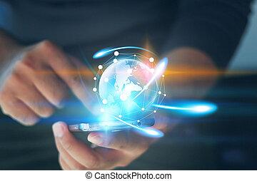 hand houdend, gloeiend, globe., wereld, connected., sociaal, netwerk, concept.