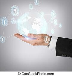 hand houdend, hologram, met, globe