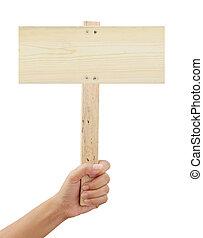 hand houdend, houten, meldingsbord, vrijstaand, op wit, achtergrond
