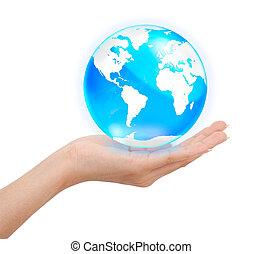 hand houdend, kristal, globe, sparen, wereld, concept