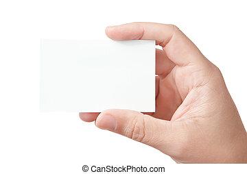 hand houdend, leeg visitekaartje