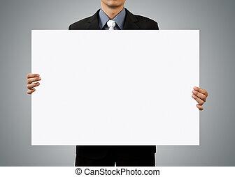 hand houdend, leeg, zakenman, witte , meldingsbord