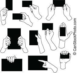hand houdend, lege, visitekaartje