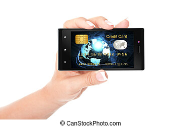 hand houdend, mobiele telefoon, met, kredietkaart, scherm