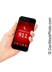 hand houdend, mobiele telefoon, met, noodgeval, getal, 911