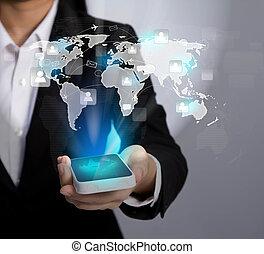 hand houdend, moderne, communicatie, technologie, mobiele...