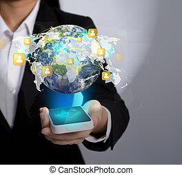 hand houdend, moderne, communicatie, technologie, mobiele telefoon, tonen, de, sociaal, netwerk, (elements, van, dit, beeld, gemeubileerd, door, nasa)