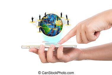 hand houdend, moderne, communicatie, technologie, mobiele telefoon, tonen, t