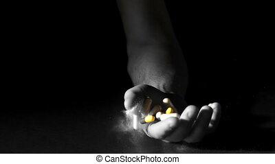 hand houdend, pillen, en, witte , poeder
