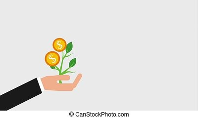 hand houdend, plant, met, geld, muntjes