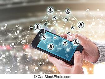 hand houdend, smartphone, en, moderne, communicatie, technologie illustratie, met, hoogwaardige technologie, achtergrond