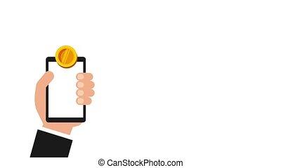hand houdend, smartphone, munt, geld