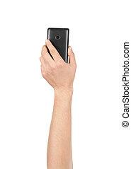 hand houdend, smartphone, vrijstaand, op wit