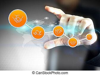 hand houdend, sociaal, media, netwerk, concept