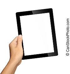 hand houdend, tablet pc, vrijstaand, op wit, achtergrond