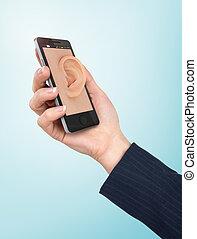 hand houdend, telefoon, met, oor, in, de, screen.,...