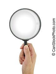 hand houdend, vergrootglas, vrijstaand, op wit, achtergrond