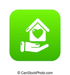 Hand house icon green
