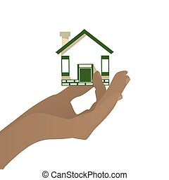 HAND HOUSE KEEP ON A WHITE BACKGROUND. Illustration for your...