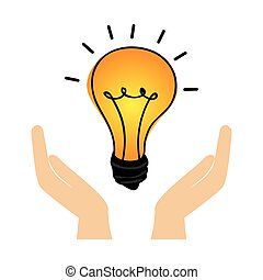 hand human with bulb light education icon