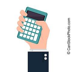 hand human with calculator
