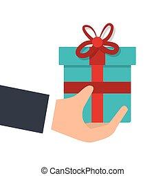 hand human with gift box