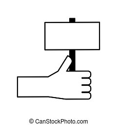 hand human with label silhouette icon