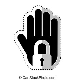 hand human with padlock silhouette icon