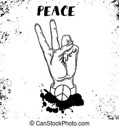hand human with peace and love gesture - Vector