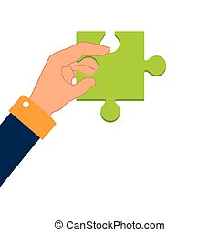 hand human with puzzle piece