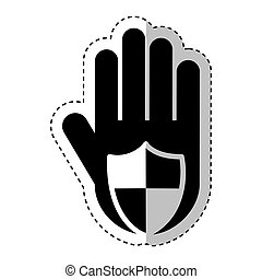 hand human with shield silhouette icon