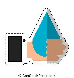 hand human with water drop isolated icon