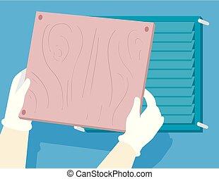 Hand Hurricane Preparedness Cover Vents - Illustration of...