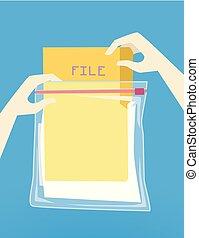 Hand Hurricane Preparedness File Protection - Illustration...