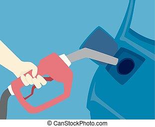 Hand Hurricane Preparedness Fill Car Tanks - Illustration of...