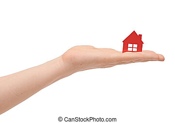 hand, Hus, isolerat, ikon
