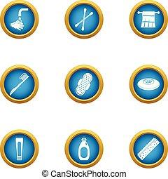 Hand hygiene icons set, flat style