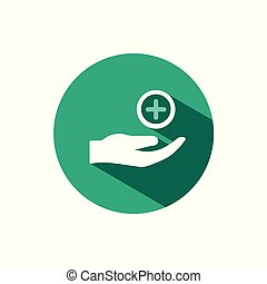 Hand icon and pharmacy cross with shadow on a green circle. Vector pharmacy illustration