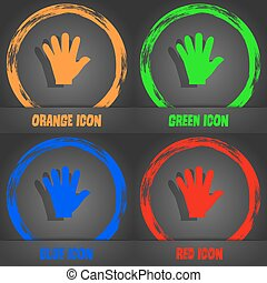 hand icon. Fashionable modern style. In the orange, green, blue, red design. Vector